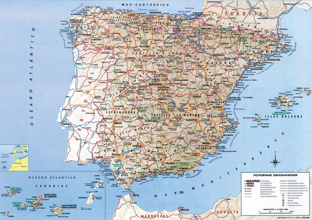 Road map of Spain with relief.