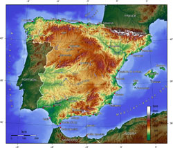 Topographical map of Spain.