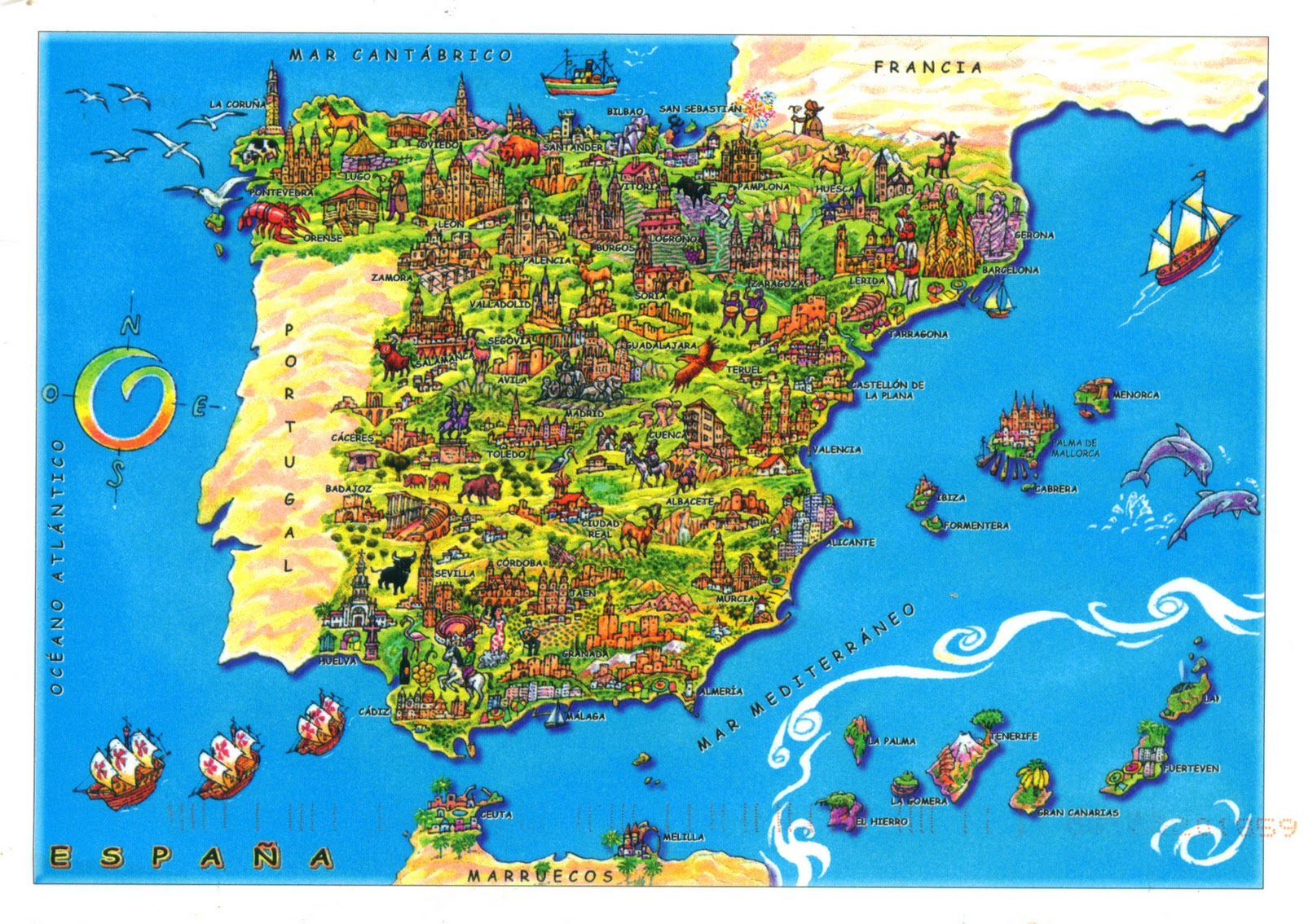 Spanien Touristische Karte – Spain Tourist Attractions Map