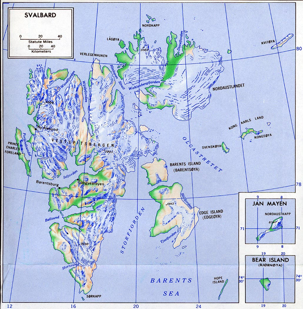 Maps Of Svalbard Detailed Map Of Svalbard In English Physical - Norway map in english
