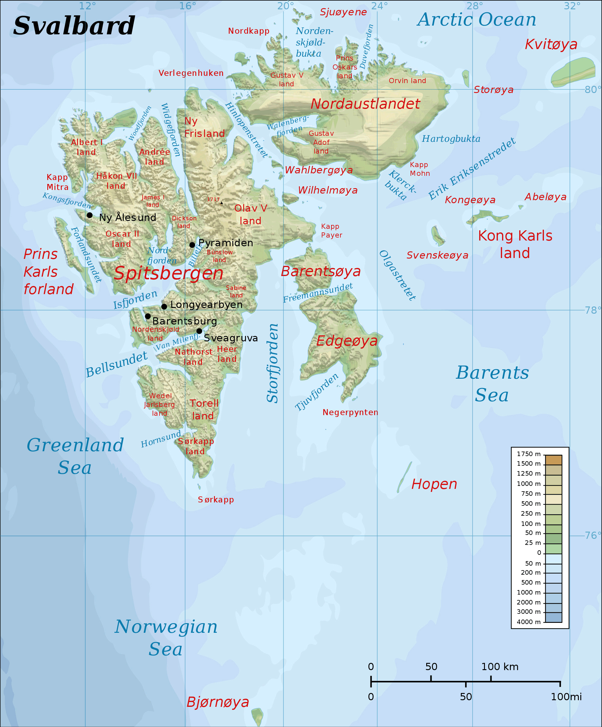 Maps of Svalbard Detailed map of Svalbard in English Physical