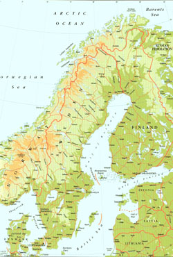 Detailed elevation map of Sweden.