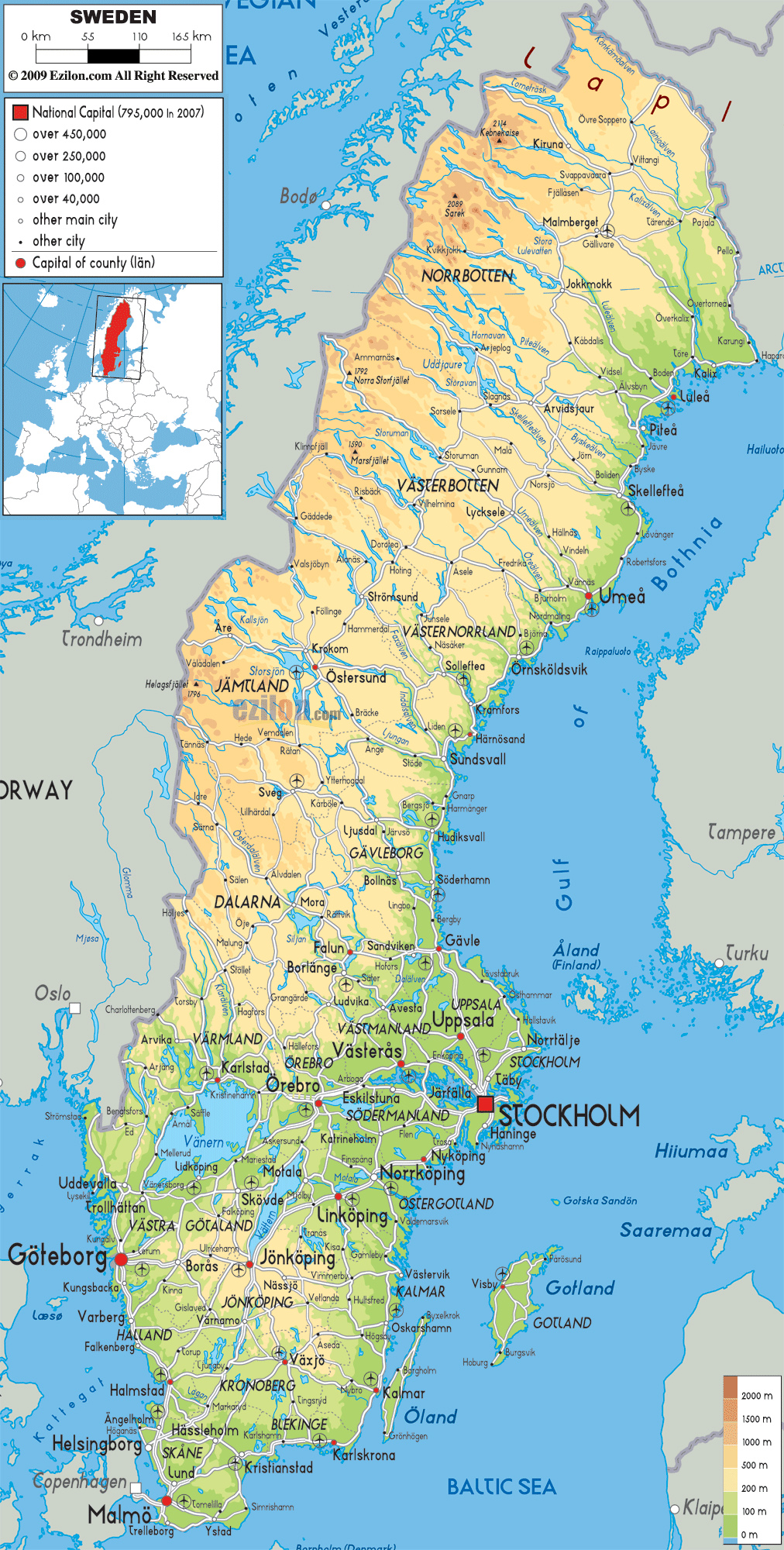 photo about Scandinavia Map Printable named Maps of Sweden Thorough map of Sweden within English Vacationer