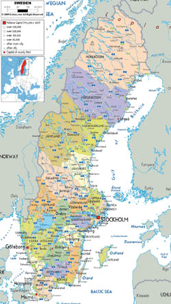 Detailed political and administrative map of Sweden with all roads, cities and airports.