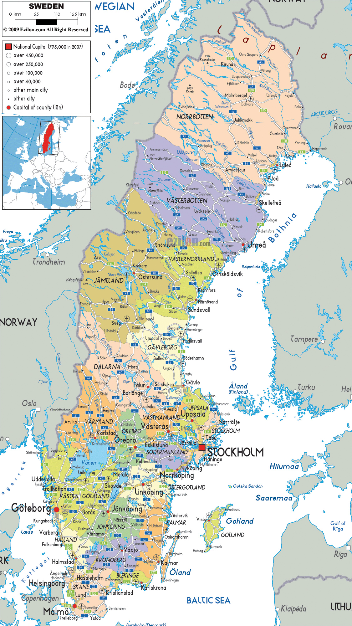 image about Scandinavia Map Printable known as Maps of Sweden Comprehensive map of Sweden inside of English Vacationer