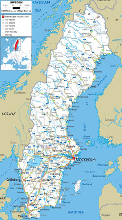Detailed road map of Sweden with all cities and airports.