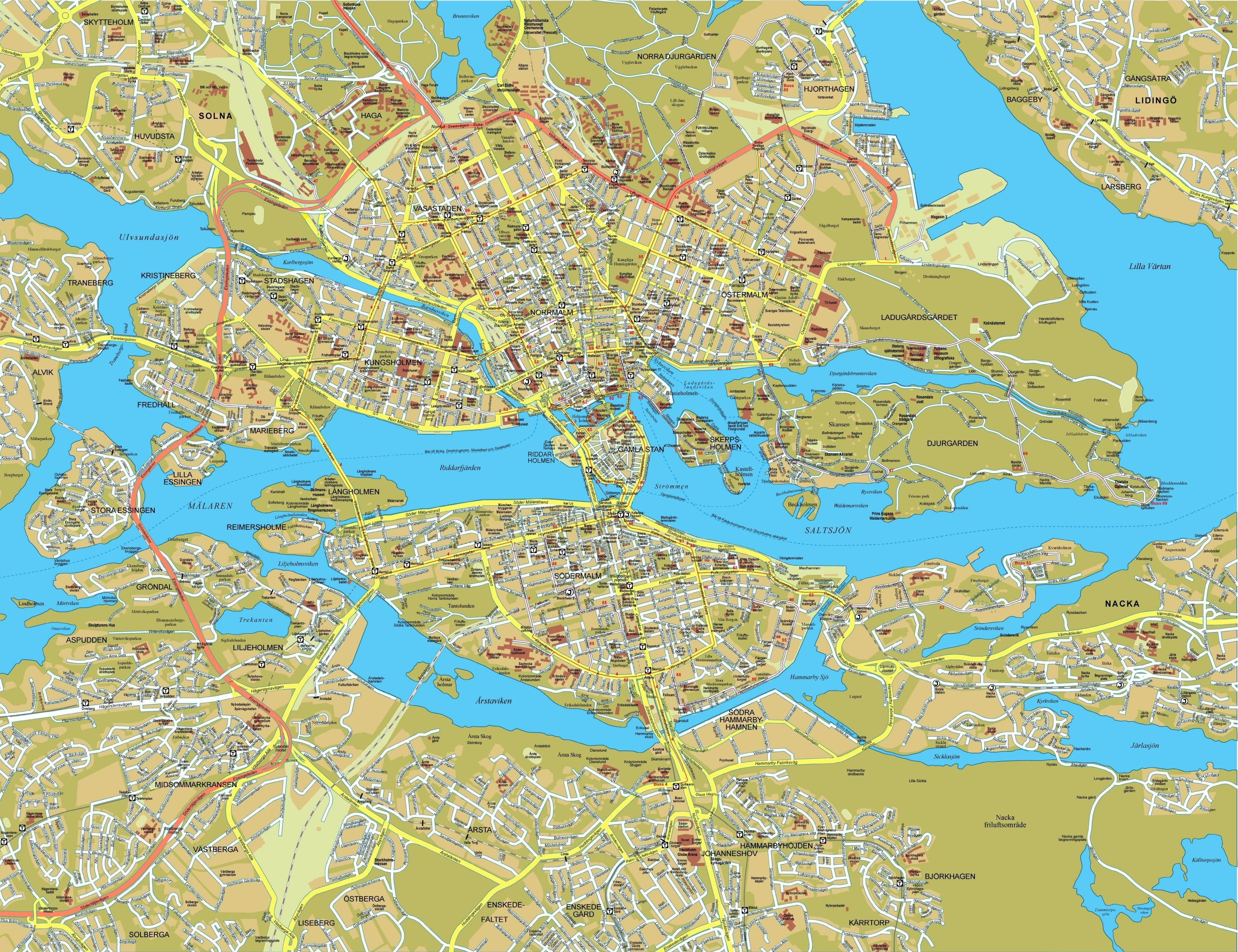 Maps of Stockholm | Detailed map of Stockholm in English | Maps of Map Of Stockholm on