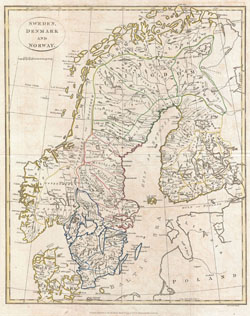 Old map of Sweden, Denmark and Norway 1799.