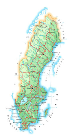 Road map of Sweden with cities and airports.