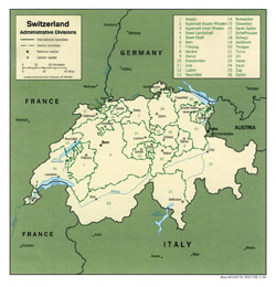Administrative map of Switzerland.