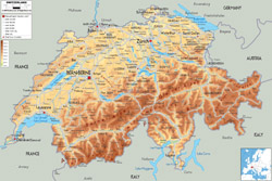 Detailed physical map of Switzerland with all roads, cities and airports.