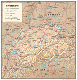 Detailed political map of Switzerland with relief, roads and cities.