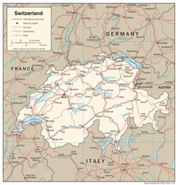 Detailed political map of Switzerland with roads and cities.
