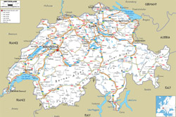 Detailed road map of Switzerland with all cities and airports.