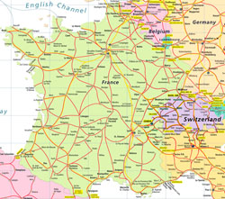 Highways map of France and Switzerland.