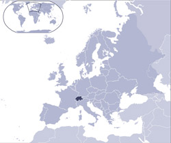 Location map of Switzerland on the map of Europe.