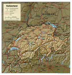 Political map of Switzerland with relief, roads and cities.