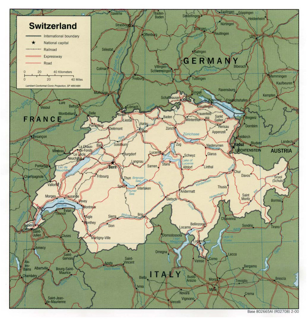 Maps of Switzerland | Detailed map of Switzerland in English ...