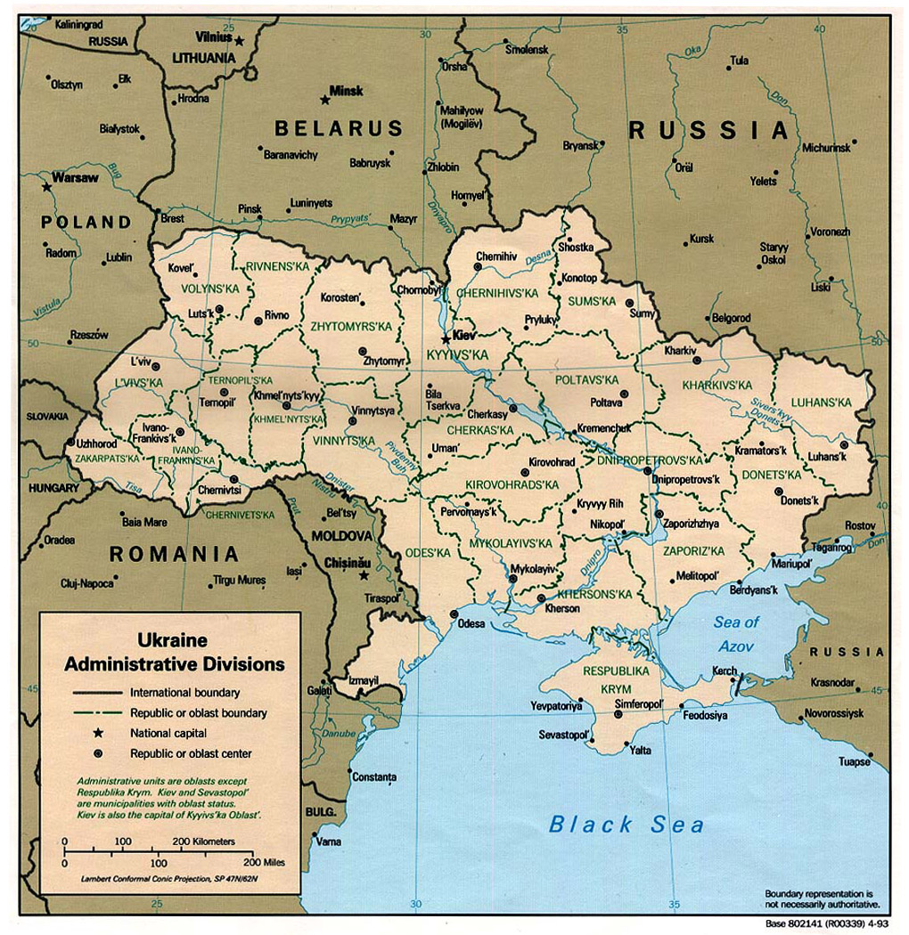 Map of Ukraine  Detailed map of Ukraine with regions and cities