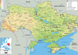 Detailed physical map of Ukraine with all cities, roads and airports.