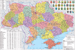 Detailed political and administrative map of Ukraine.