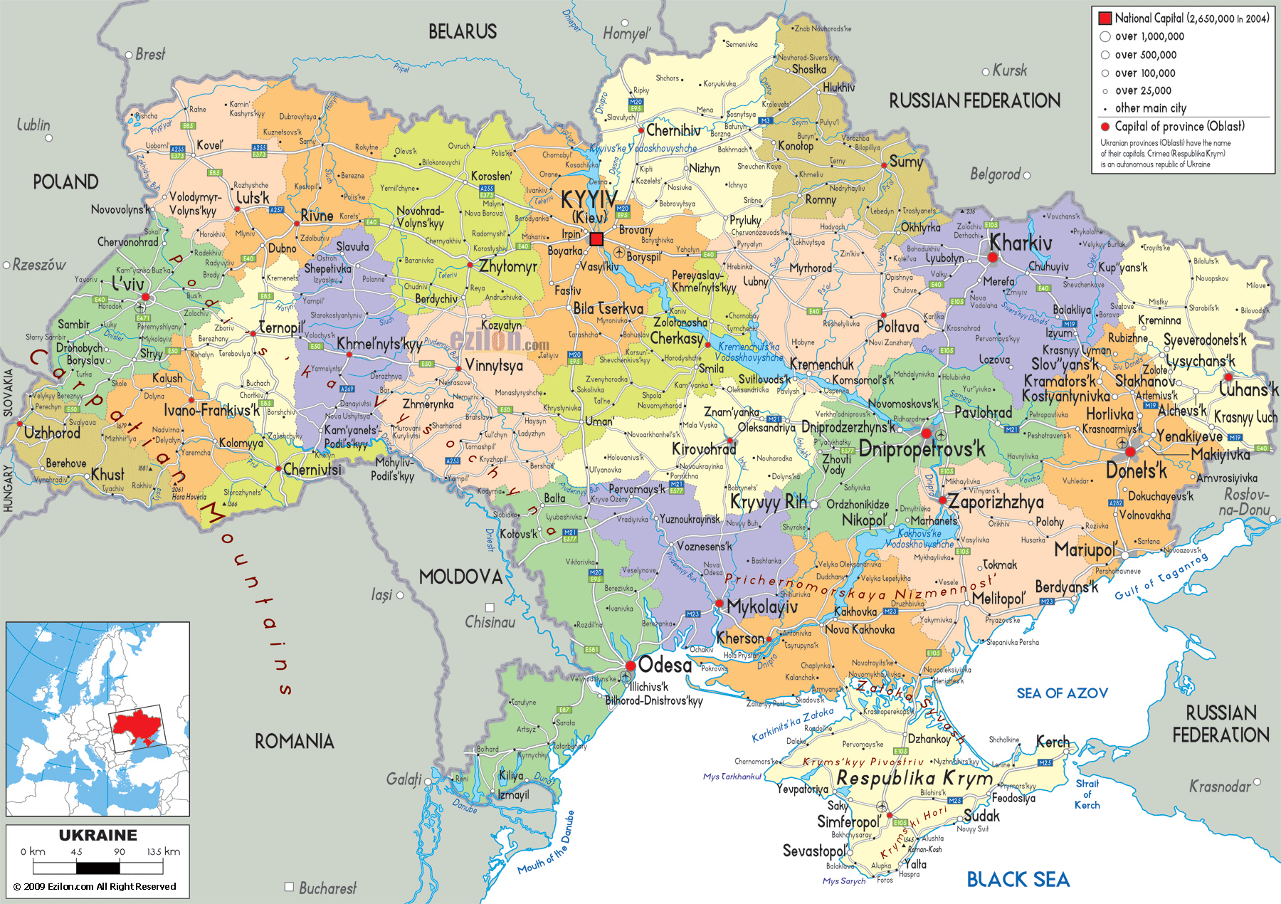 Map of ukraine detailed map of ukraine with regions and cities detailed political and administrative map of ukraine with all cities roads and airports sciox Image collections