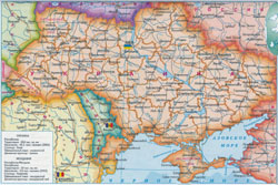 Detailed political map of Ukraine and Moldova.