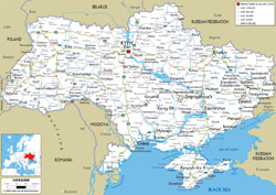 Detailed road map of Ukraine with all cities and airports.
