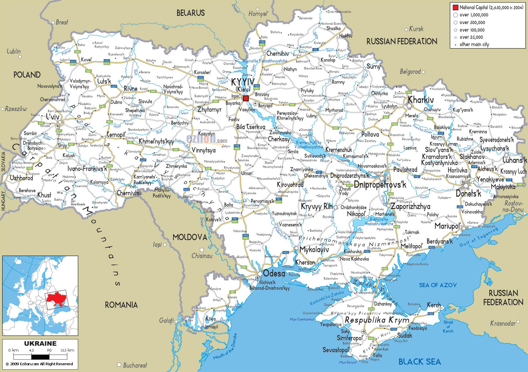 Ukraine Map - Europe - Mapcarta