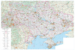 Large road and tourist map of Ukraine in Ukrainian.