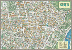 Large detailed tourist panoramic map of Kiev city center.