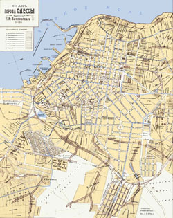 Detailed old map of Odessa city 1910.