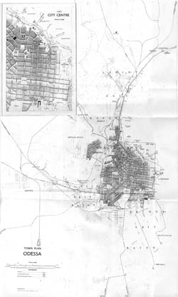 Detailed old map of Odessa city 1961.
