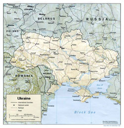 Political map of Ukraine with relief, roads and cities.
