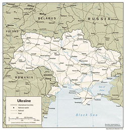 Political map of Ukraine with roads and cities.
