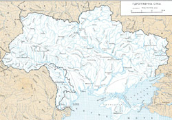 Rivers map of Ukraine in Ukrainian.