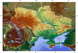 Topographical map of Ukraine.