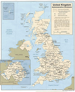 Administrative map United Kingdom.