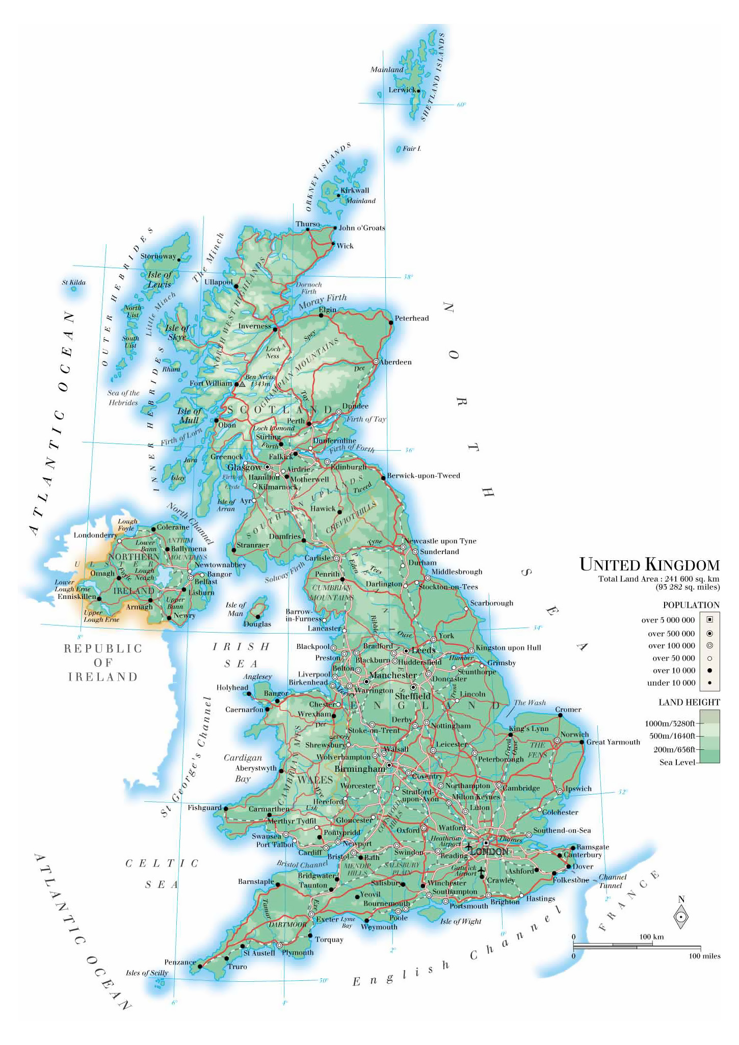 Map Of England And Ireland With Towns.Maps Of The United Kingdom Detailed Map Of Great Britain In