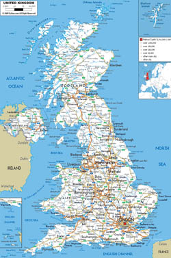 Detailed road map of United Kingdom with all cities and airports.