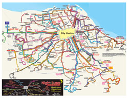 Detailed bus map of Edinburgh city.