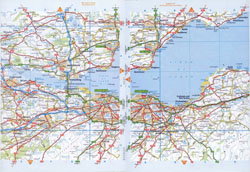 Large detailed roads map of Edinburgh and the surrounding area.