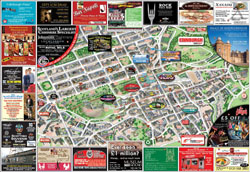 Large detailed tourist and info map of Edinburgh city center.