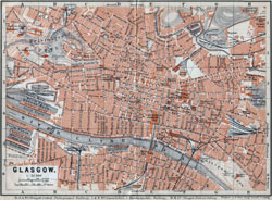 Detailed old map of Glasgow city - 1910.
