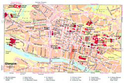 Detailed tourist map of Glasgow city center.