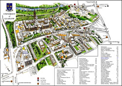 Large detailed University of Glasgow map.