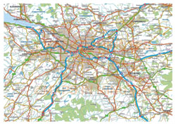Large detailed roads map of Glasgow and the surrounding area with airports.