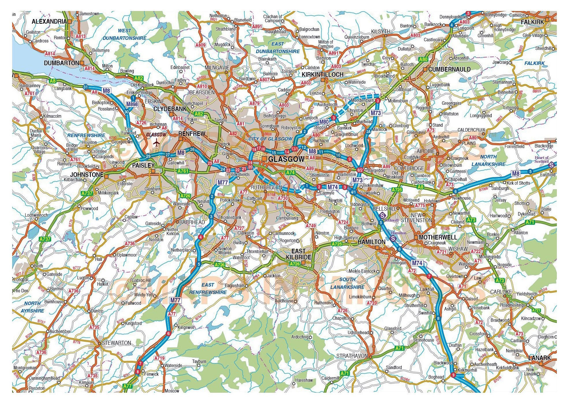 Glasgow United Kingdom Scotland  Tourist map of Glasgow