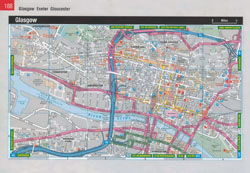 Large detailed roads map of Glasgow city center.