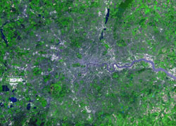 Detailed satellite map of London city.